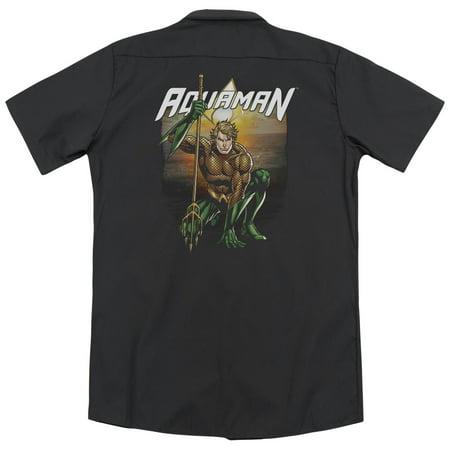 Justice League Beach Sunset (Back Print) Mens Work Shirt ()