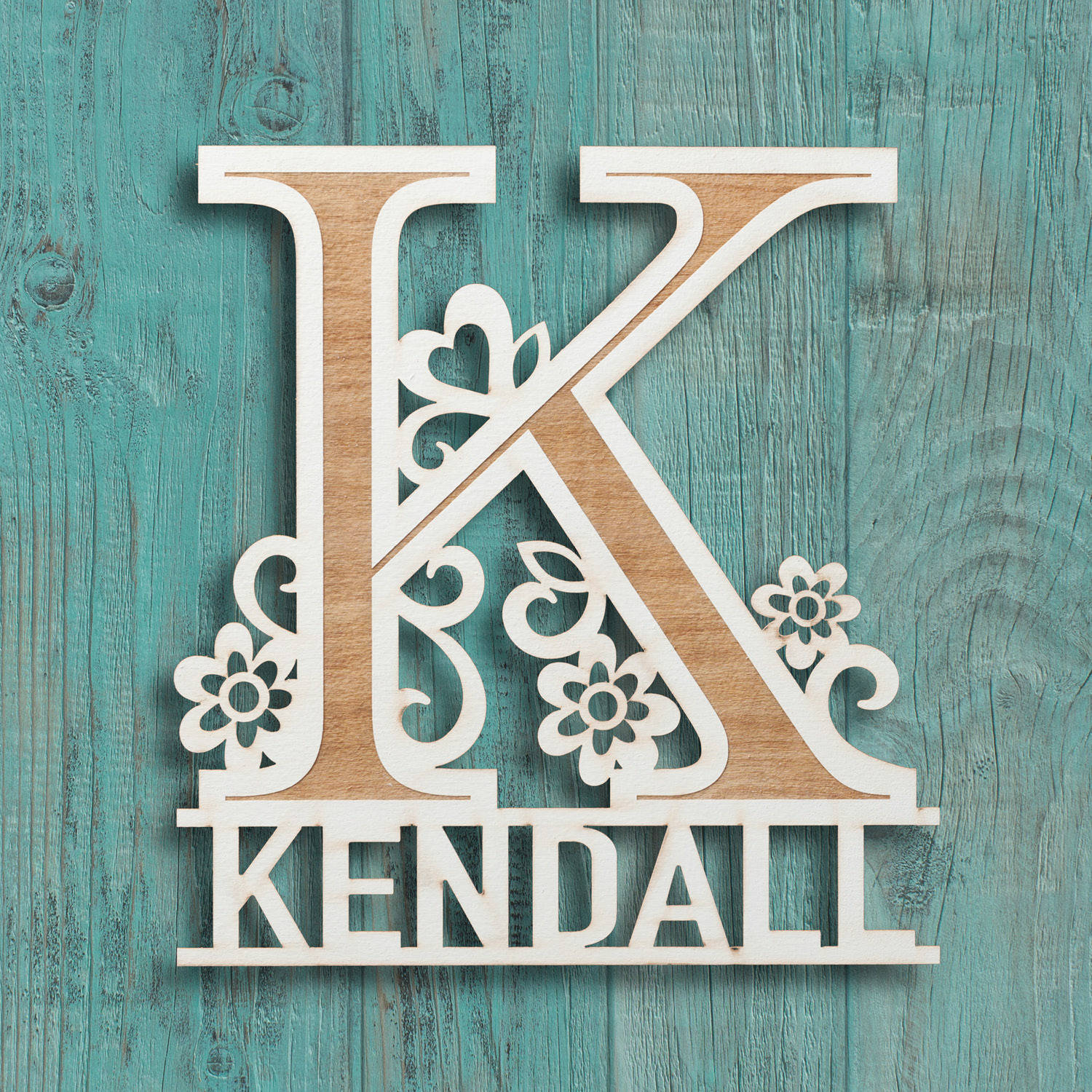 Her Name Personalized Antique White Wood Plaque