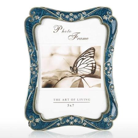Photo Frame Vintage Picture Frame Flower Edging Embellishment Photo Frame Wedding Christmas Gift ()
