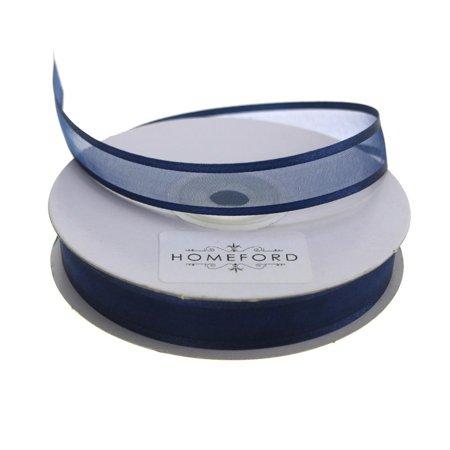 Satin-Edge Sheer Organza Ribbon, 5/8-Inch, 25 Yards, Navy Blue