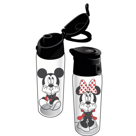 Disney Gazing Mickey Minnie Flip Top Water Bottle