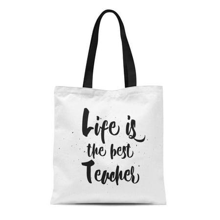 KDAGR Canvas Tote Bag Life Is the Best Teacher Philosophical Inspirational Inscription Durable Reusable Shopping Shoulder Grocery Bag](Best Teacher Bags)