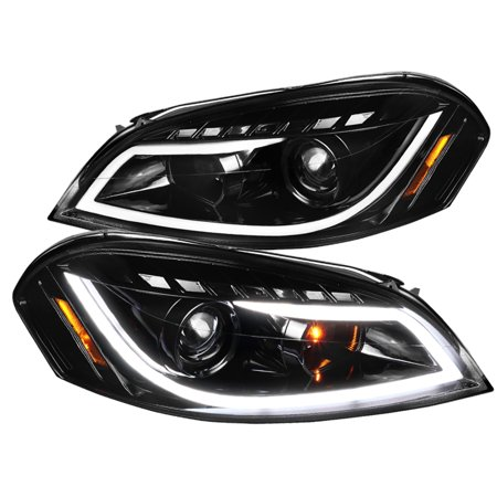 Spec-D Tuning For 2006-2013 Chevy Impala Led Jet Black Projector Headlights + Signal Lamps Pair 2006 2007 2008 2009 2010 2011 2012 2013 ()