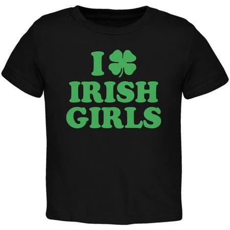 St. Patricks Day - I Shamrock Love Irish Girls Black Toddler T-Shirt](Cute Girl St Patricks Day Outfits)