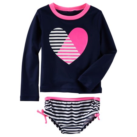 7b31bdd8b Carter's - Carter's Girls Long Sleeve Heart Rash Guard with Bikini Bottom  Swimsuit-Navy Blue and Pink - Walmart.com