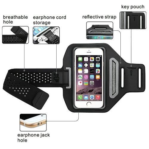 Samsung Galaxy S9 Plus/S8 Plus/Note 9/Note8 Active Sports Armband Universal Sport Running Armband Pouch For Workout + Key Holder - Black