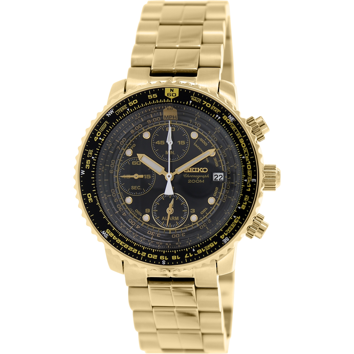 Seiko Men's SNA414 Gold Stainless-Steel Quartz Dress Watch