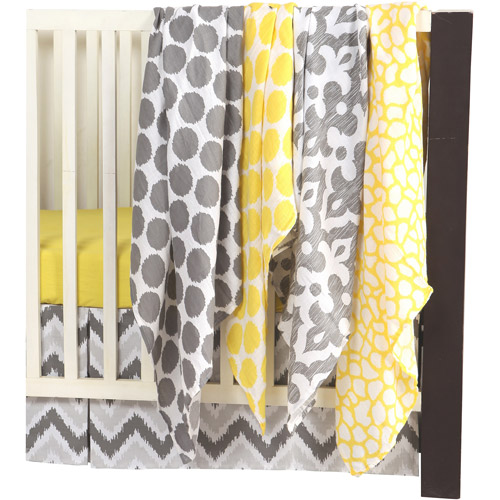 Bacati - Ikat 100% Cotton Muslin Swaddling Blankets Set of 4, Available in Multiple Patterns and Colors