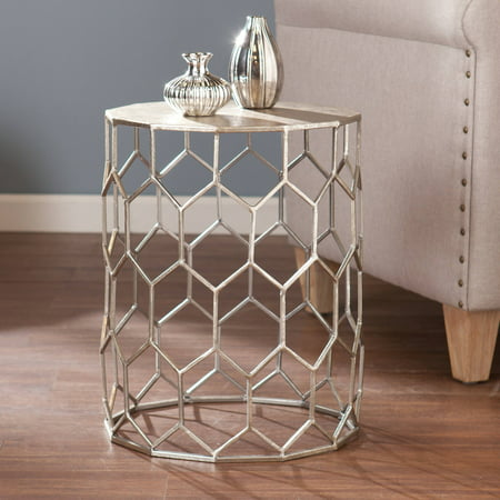 Southern Enterprises Clara Honeycomb Metal End Table, - Silver End Piece