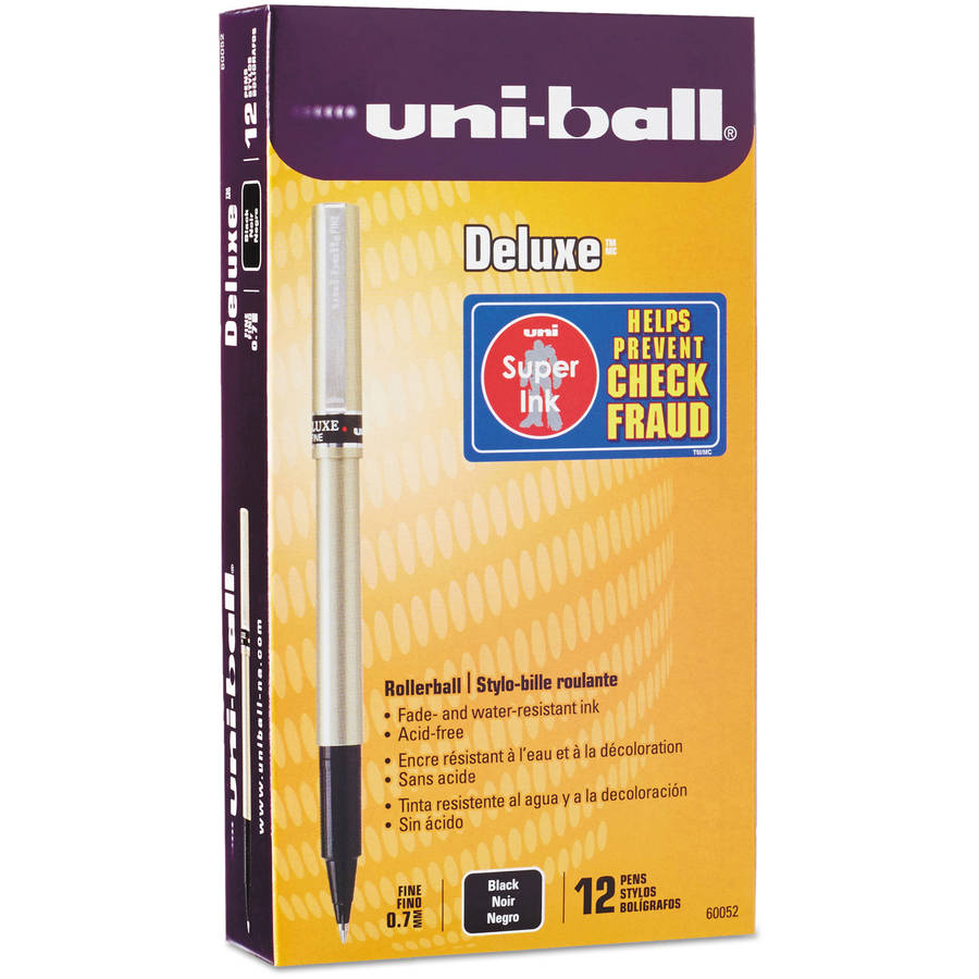 Uni-ball Deluxe Roller Ball Stick Water-Proof Pen, Fine Point, Pack of 12