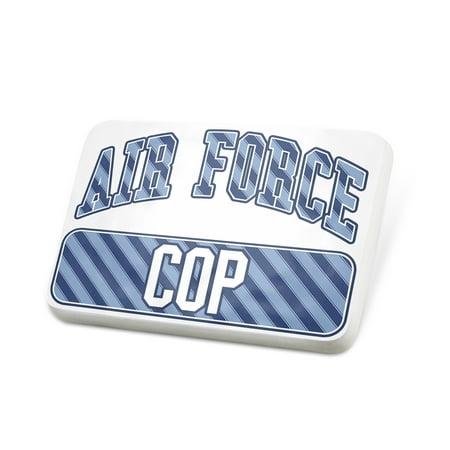 Porcelein Pin Air Force Cop, Blue stripes Lapel Badge – NEONBLOND](Fake Cop Badge)