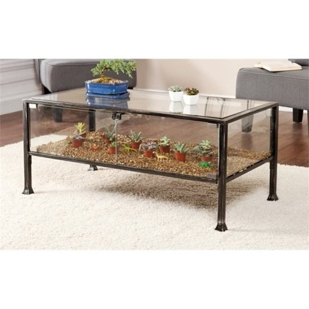 Pemberly Row Gl Display Coffee Table In Black