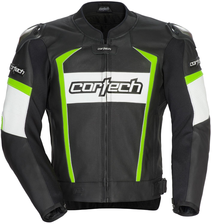Cortech Adrenaline 2.0 Mens Leather Jacket Black/Hi-Vis