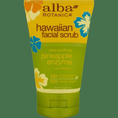 Alba Botanica Hawaiian Facial Scrub Pore Purifying Pineapple Enzyme, 4 oz