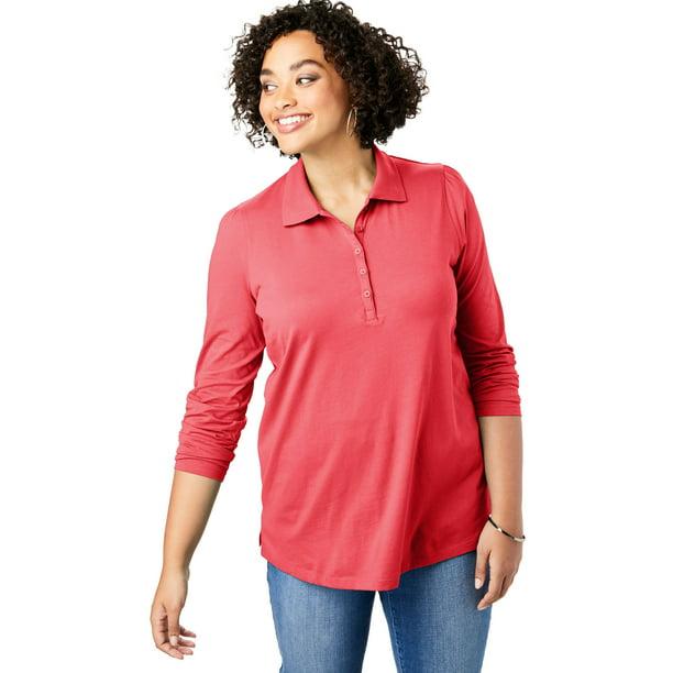 Roaman's Women's Plus Size Long-Sleeve Polo Ultimate Tee