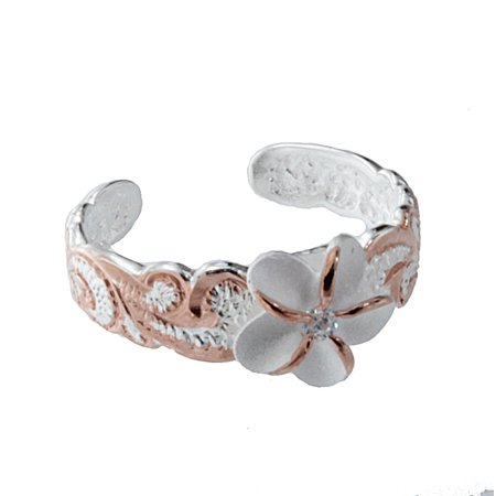 Hawaiian Jewelry - R.H. Jewelry Hawaii Silver Toe Ring - Two Tone Plumeria Flower Toering