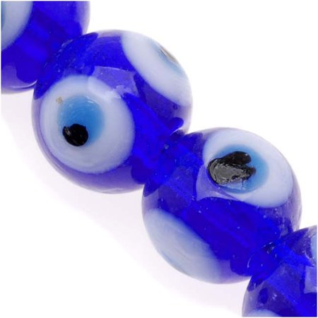 Lampwork Glass Novelty Evil Eye Beads 10mm Round Dark Blue With Light Blue (20)](Novelty Glasses With Eyes)