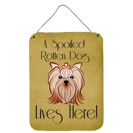 Yorkie Yorkshire Terrier Spoiled Dog Lives Here Wall or Door Hanging Prints