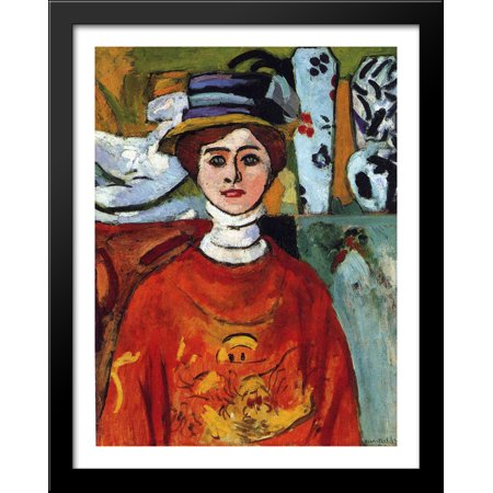 The girl with green eyes 28x36 Large Black Wood Framed Print Art by Henri Matisse