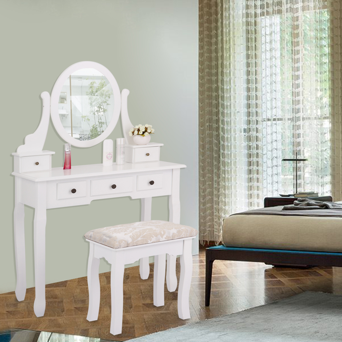 Jaxpety Wood Makeup Vanity Table Set w/ Oval Mirror and S...