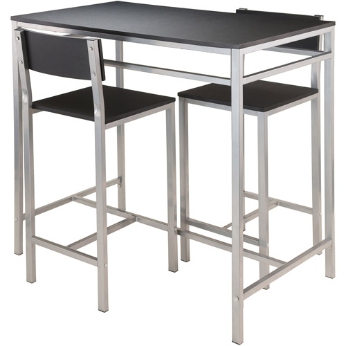 Winsome Hanley 3-Piece Kitchen High Table Set, Black Top/Metal Frame