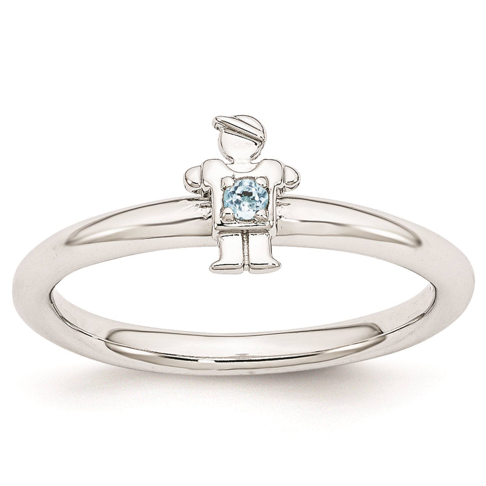 925 Sterling Silver Rhodium Plated Blue Topaz Boy Stackable Ring Size 6