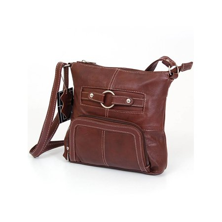 Women's Purse Cross Body Shoulder Bag Leather Handbag Organizer Messenger Tote Brown One
