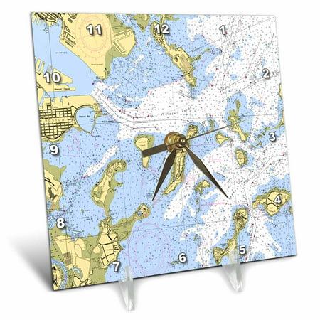 3dRose Print of Boston Harbor Nautical Chart, Desk Clock, 6 by 6-inch ()