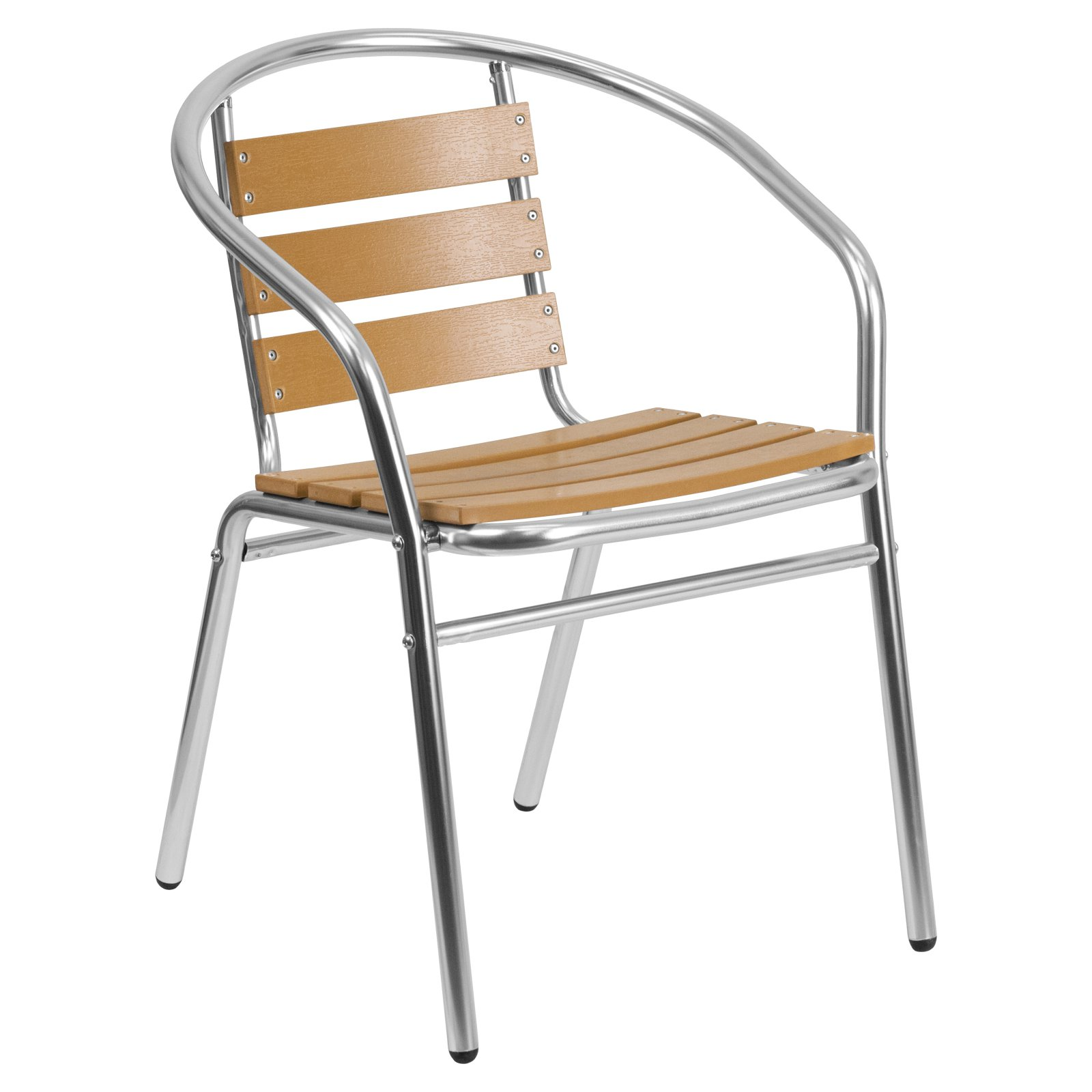 Flash Furniture Aluminum Commercial Indoor-Outdoor Restaurant Stack Chair with Triple Slat Faux Teak Back