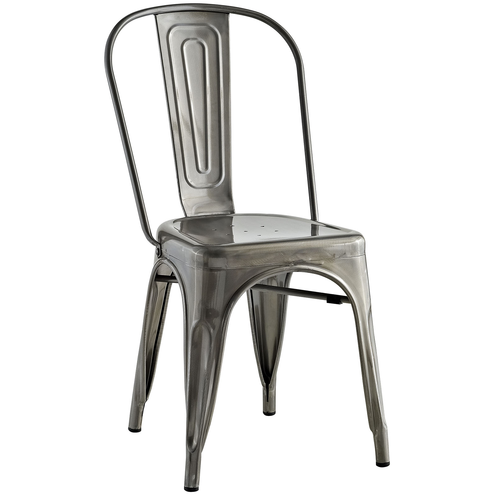 Modern Contemporary Urban Design Industrial Distressed Antique Vintage Style Kitchen Room Dining Chair, Silver, Metal