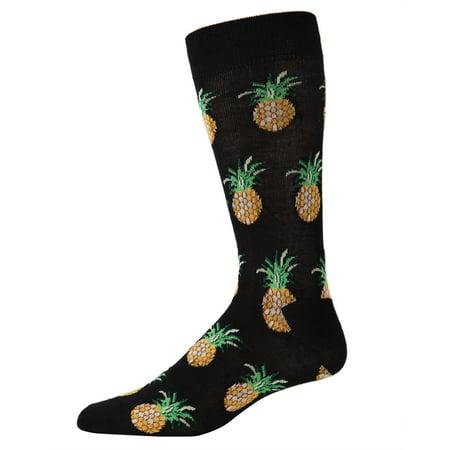 Bamboo Pineapple (MeMoi Pineapples Bamboo Blend Men's Crew Socks One Size 10-13 / Black ACV05427 )