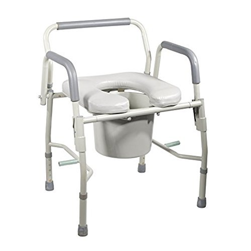 Drop Arm Bedside Commode by HEALTHLINE. Padded Bedside Commode with Drop-Arm, Padded Commode Seat & Arms, Raised Toilet Seat, Safety Frame. 3 In 1 Commode Wheelchair - Shower Chair