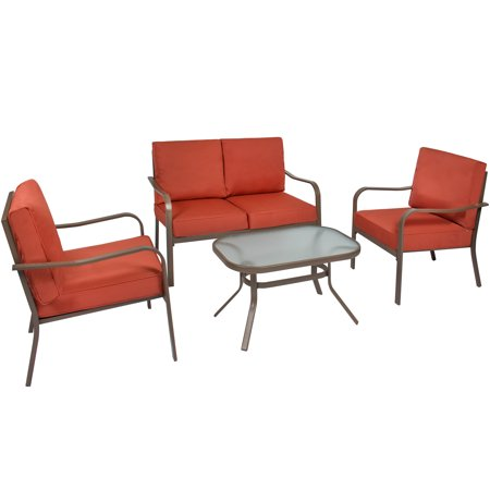 Best Choice Products 4-Piece Cushioned Metal Conversation Set with 2 Chairs and Glass Top Coffee Table,