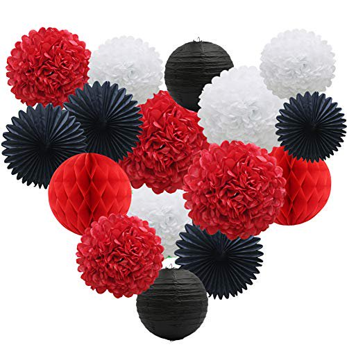 Red White Black Party Decorations 16pcs Paper Pom Poms Honeycomb Balls Lanterns Tissue Fans For Mickey Mouse Theme Birthday Ladybugs Baby Shower Graduation Walmart Com