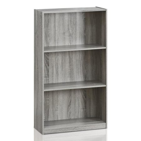 Grey Shelving (Basic 3-Tier Bookcase Storage Shelves, French Oak Grey )