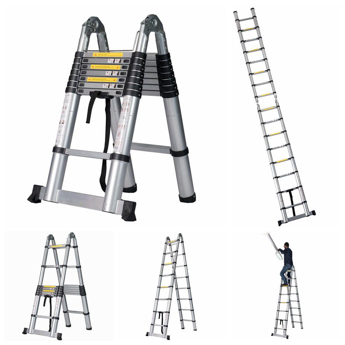 16.5' FT EN131 Folding Aluminum Multi Purpose Attic Telescoping Ladder Extension