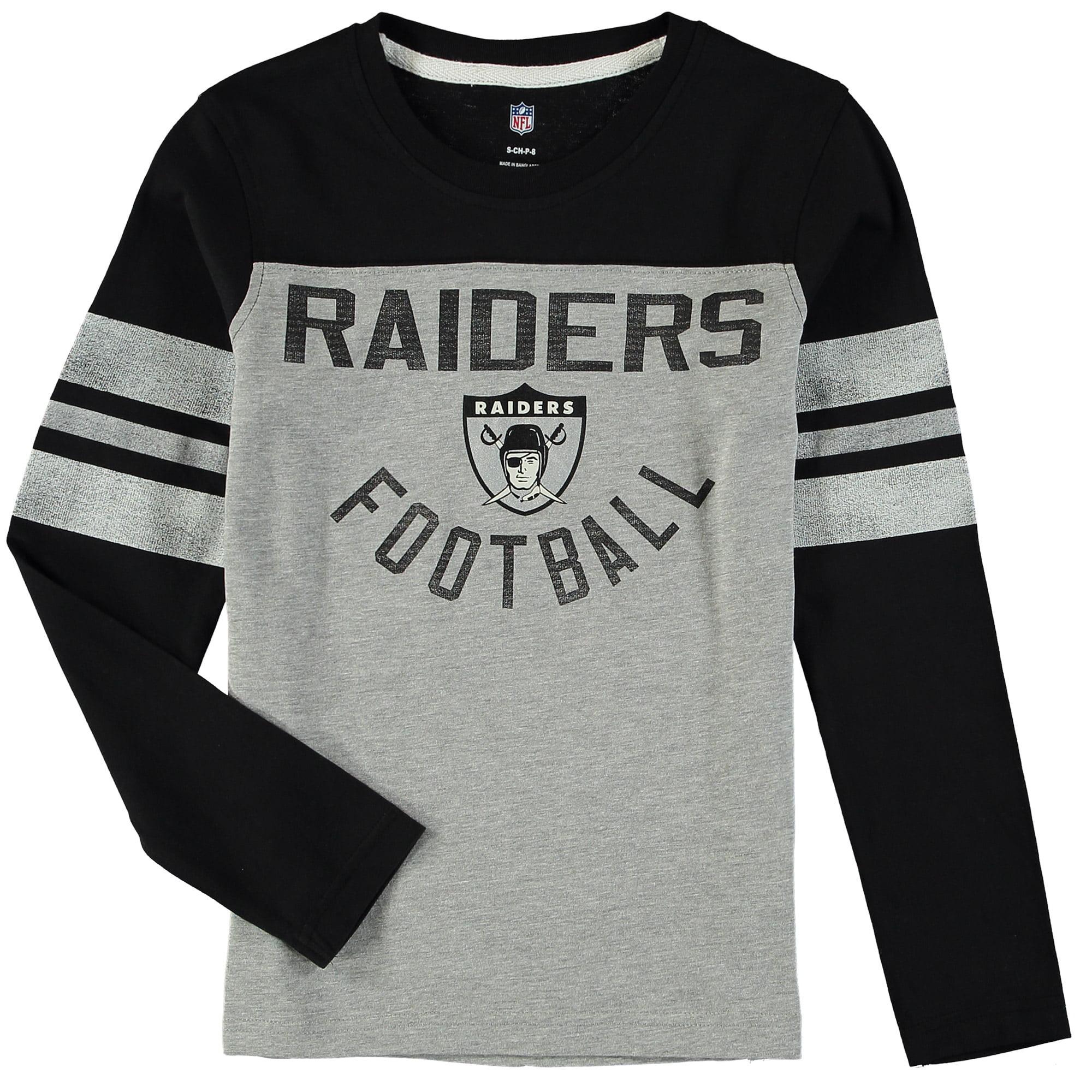 Oakland Raiders Youth Retro Legacy Long Sleeve T-Shirt - Gray/Black
