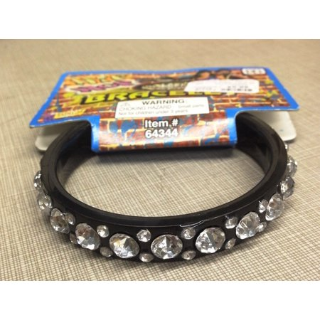 Hip Hop 80'S Gem Stone Rhinestone Black Bangle Bracelet Costume Jewelry - Jelly Bracelets 80s