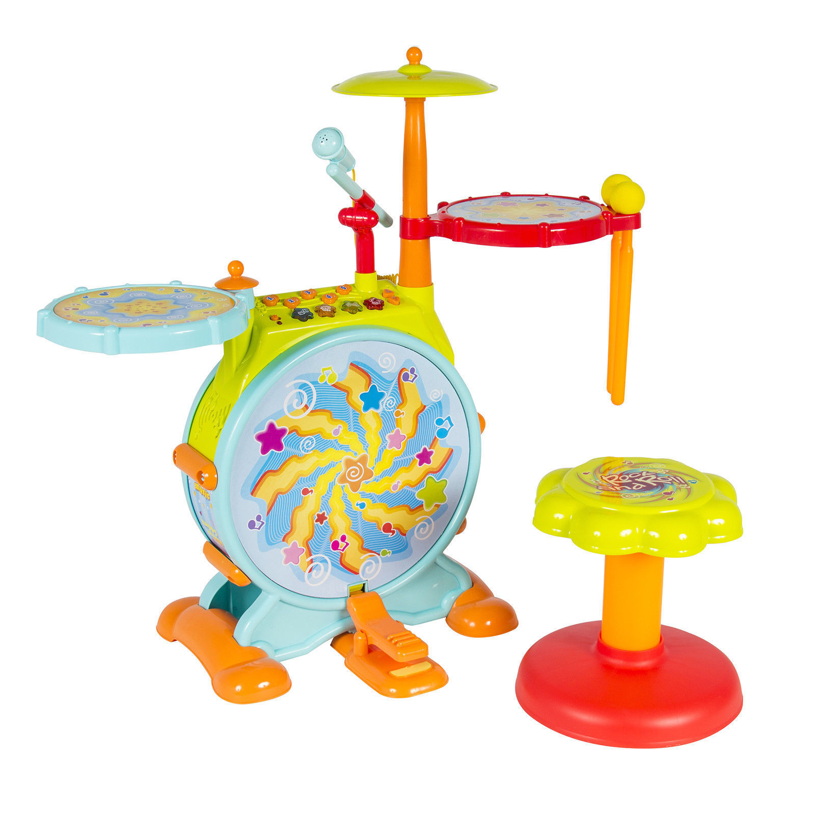 """GHP 27""""x8""""x25"""" Kids Toddler Musical Instrument Electronic Toy Drum Set w Microphone by"""