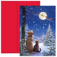 """Great Papers!® Holiday Greeting Card, And To All A Goodnight, 18 Cards/18 Foil-Lined Envelopes, 5.625""""x7.875"""""""