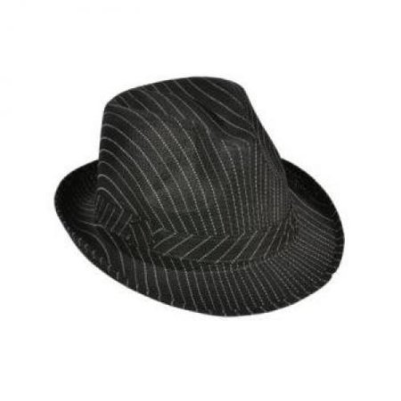 Roaring 20s Gangster Costume Black Pin Stripe Fedora Hat (Pinstriped Fedora Gangster Hat)