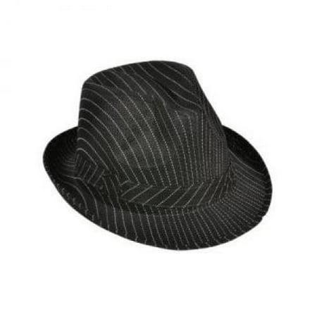 Roaring 20s Gangster Costume Black Pin Stripe Fedora Hat - Costume Hot