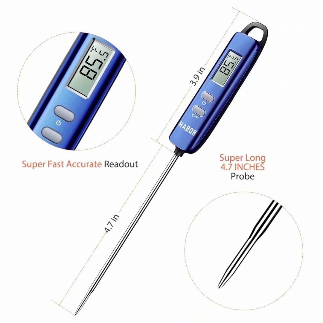 Instant Read Thermometer Digital Cooking Thermometer Habor 022 Meat Thermometer Candy Thermometer with Super Long Probe for Kitchen BBQ Grill Smoker Meat Oil Milk Yogurt Temperature