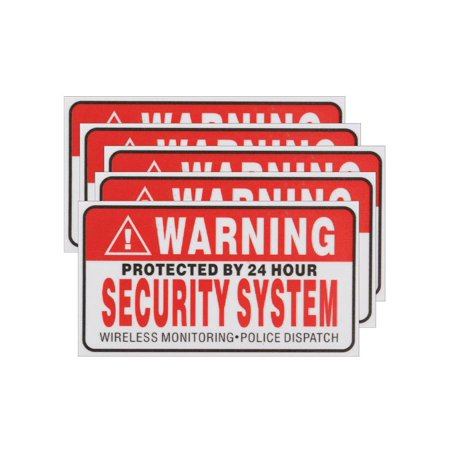 - 5x Protected By 24 Hour Warning Security System Sticker Safty Sign Decal 3.5
