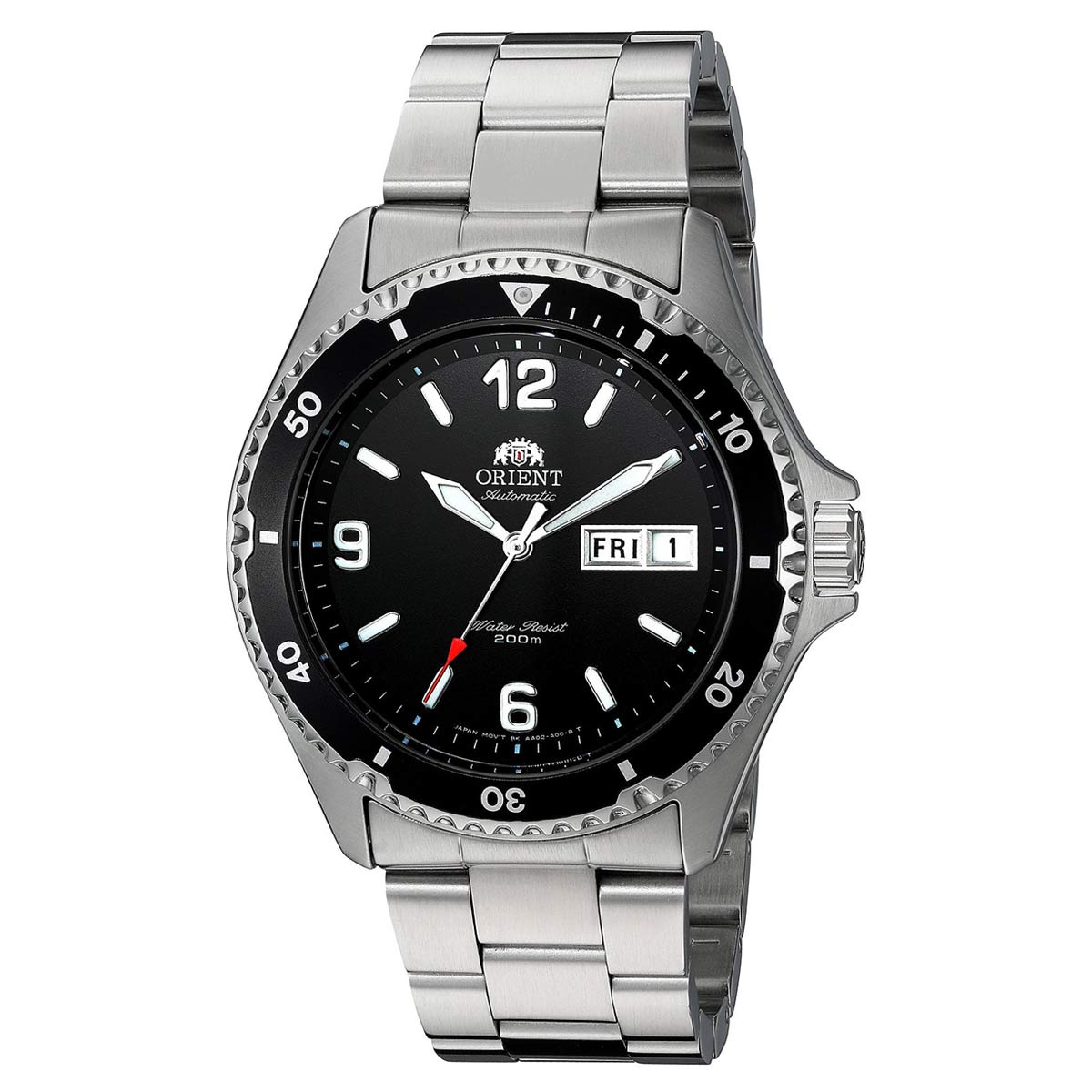 Orient AA02001B Men's Mako II Black Dial Steel Bracelet Automatic Dive Watch