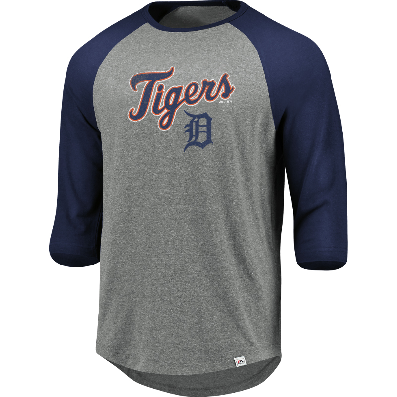 Detroit Tigers Majestic This Season 3/4-Sleeve Tri-Blend Raglan T-Shirt - Heathered Gray