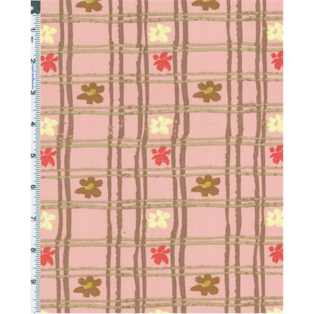Pink Nel Whatmore Eden Picnic Check Print Cotton, Fabric By the Yard