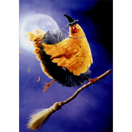 Halloween Wedding Card (Avanti Press Chicken Witch On Broomstick Funny Halloween)