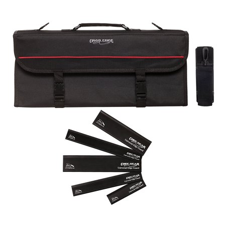 13 Pocket professional chef knife case knife roll bag chef bag with 5 Edge Guards CHEF GEAR by Ergo Chef (Black) Chefs Knife Roll