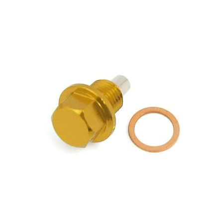 M12*1.25 Gold Tone Metal Magnetic Engine Oil Drain Plug Screw w Billet for